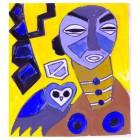 Afrikanischer Teppich, Entwurf birdonshoulder-gelb