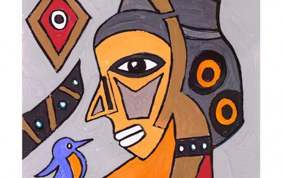 Afrikanischer Teppich, Entwurf birdtalk-ocker