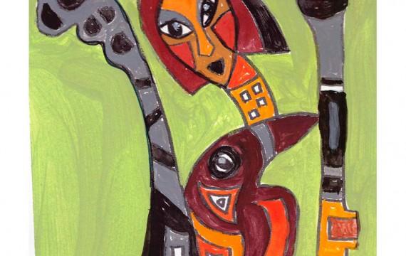 Afrikanischer Teppich, Entwurf girlbird-gruen