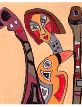 Afrikanischer Teppich, Entwurf girlbird-orange