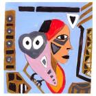 Afrikanischer Teppich, Entwurf watching-hellblau