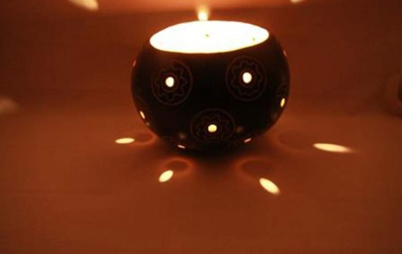 Kalebasse Windlicht Kerzenhalter Bolt