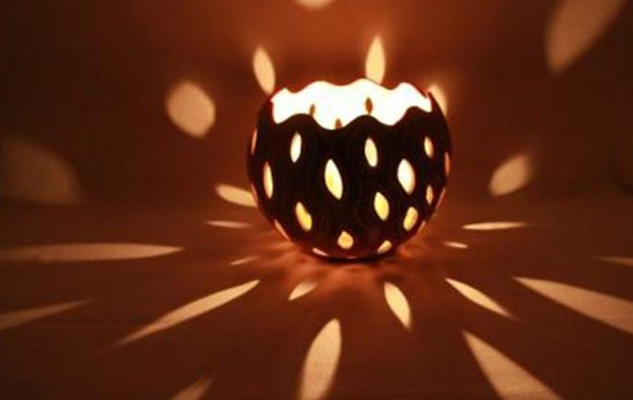 Kalebasse Windlicht Kerzenhalter Drop