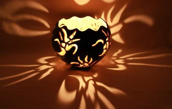 Kalebasse Windlicht Kerzenhalter Florals