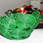 Perlenschale grün aus Glasperlen und Draht