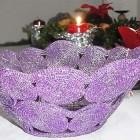 Perlenschale violett aus Glasperlen und Draht